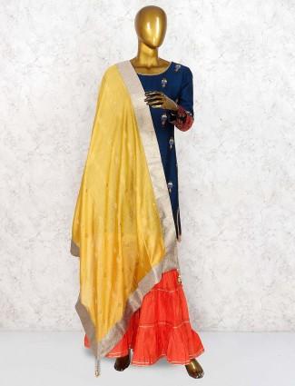 Navy blue raw silk fabric punjabi sharara suit