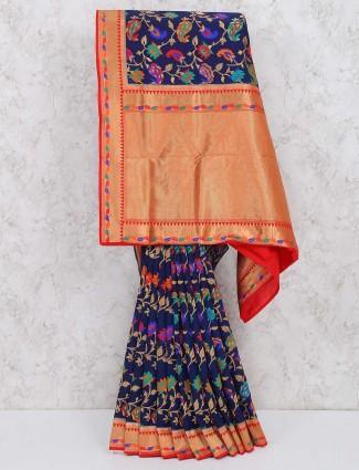 Navy blue saree in semi silk fabric