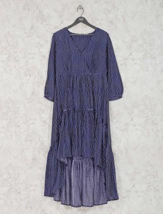 Navy blue satin silk printed long kurti