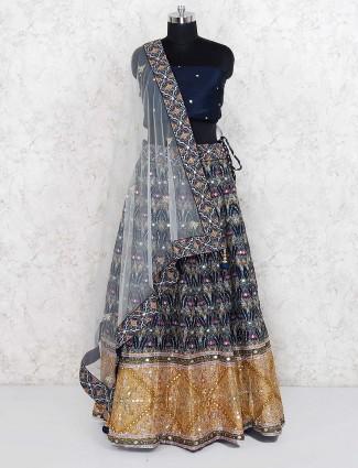 Navy blue semi stitched printed cotton silk lehenga choli