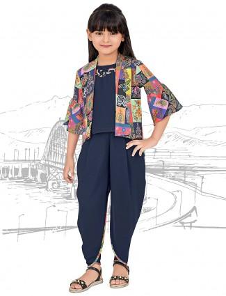 Navy cotton fabric jacket style punjabi dhoti suit