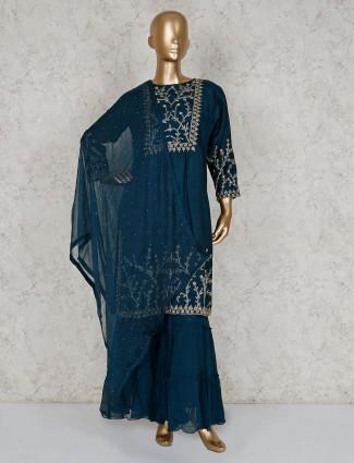 Teal cotton silk beautiful sharara suit