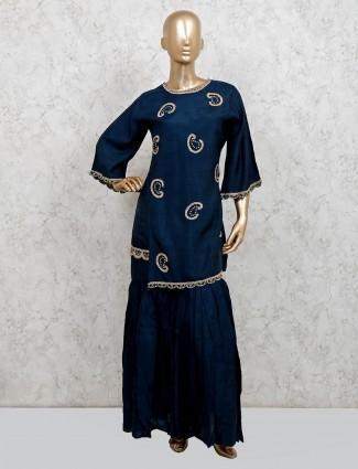 Navy cotton silk party function punjabi sharara suit