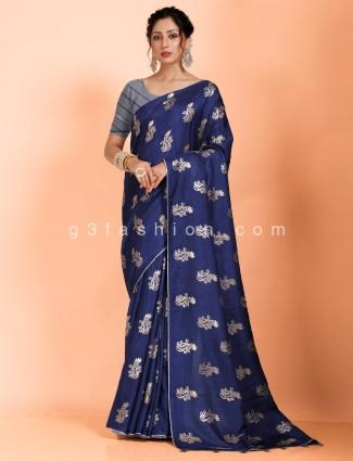 Navy dola silk saree with grey piping border
