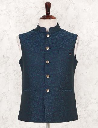 Navy festive wear terry rayon waistcoat