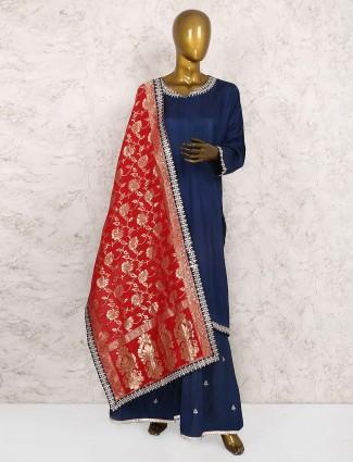 Navy hue cotton silk punjabi sharara suit