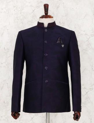 Navy hue designer terry rayon jodhpuri suit