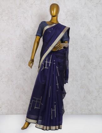 Navy hue festive wear pure silk saree
