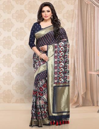 Navy hue pato silk festive saree
