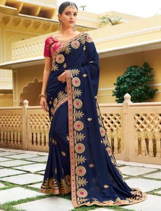 Navy hue semi silk festive sareee