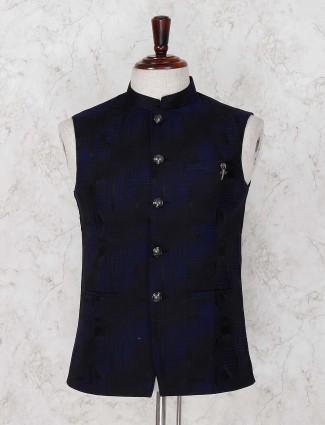 Navy hue textured pattern terry rayon waistcoat