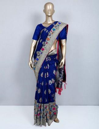 Navy muga silk saree for wedding events