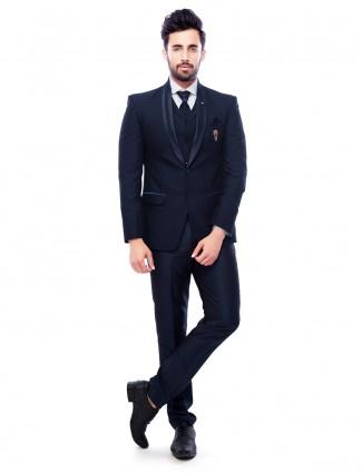 Navy plain attractive party wear coat suit