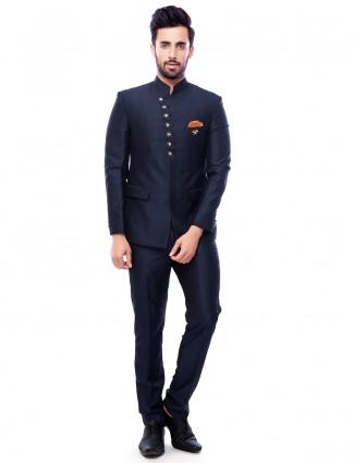 Navy plain terry rayon jodhpuri suit