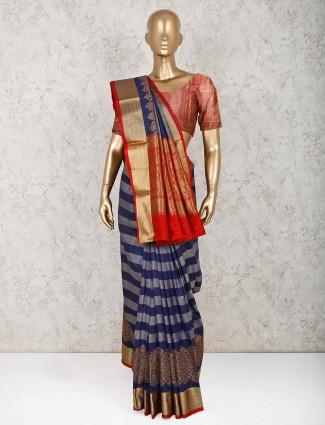 Navy pure silk beautiful saree