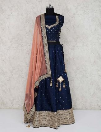 Navy raw silk party wear semi stitched lehenga choli