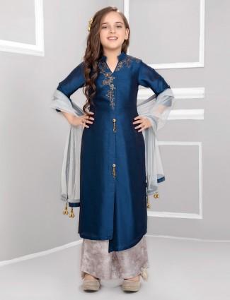 Navy raw silk punjabi palazzo suit for girls