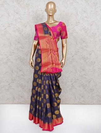 Navy semi cotton silk saree with zari weaving