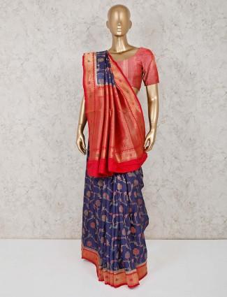 Navy semi silk saree