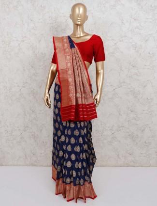 Navy semi silk saree with blouse piece