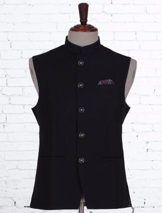 Navy terry rayon party plain waistcoat