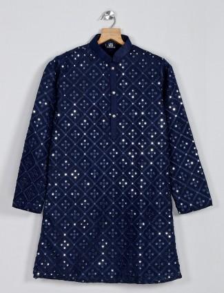 Navy thread work cotton silk kurta suit