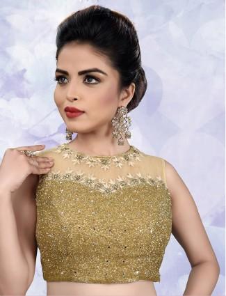Net fabric cream designer ready made blouse