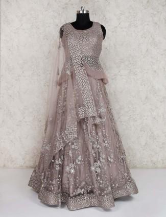 Net wedding grey lehenga choli