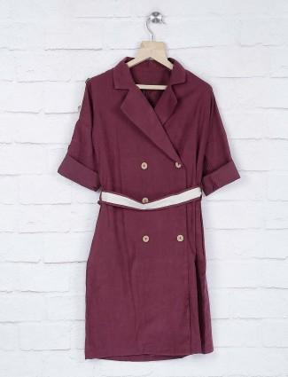 No Doubt maroon color cotton fabric casual top