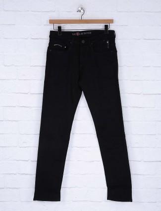Nostrum slim fit solid black mens jeans