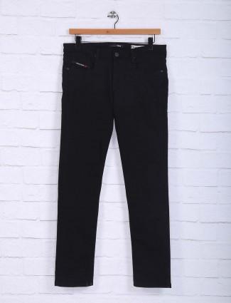 Nostrum solid black hue casual trouser
