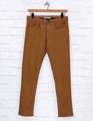 Nostrum solid khaki casual wear jeans
