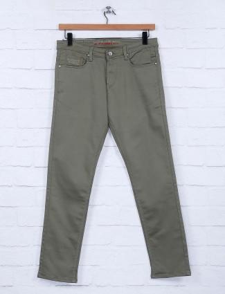 Nostrum solid olive color mens jeans