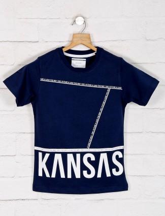 Octave blue printed cotton t-shirt