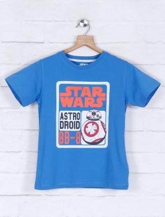 Octave royal blue printed cotton t-shirt