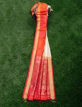 Off white and orange saree in pure silk fabric