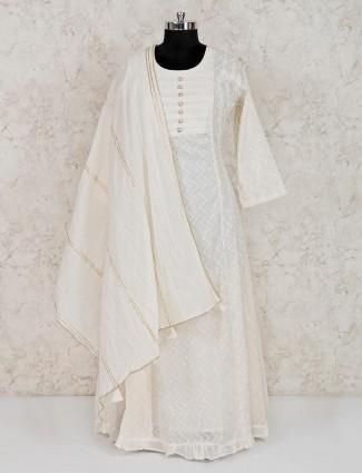 Off white cotton festive wear anarkali suit