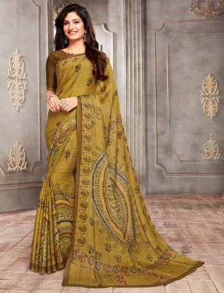 Olive bhagalpuri silk printed sari