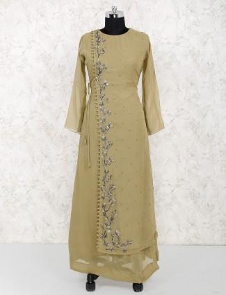 Olive color georgette fabric long salwar suit