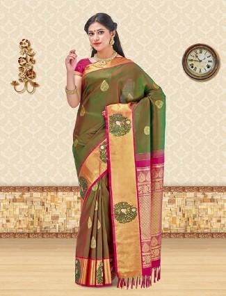 Olive color kanchipuram silk saree