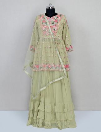 Olive colour reception wear lehenga choli