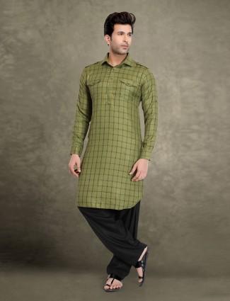 Olive cotton festive wear checks pathani suit