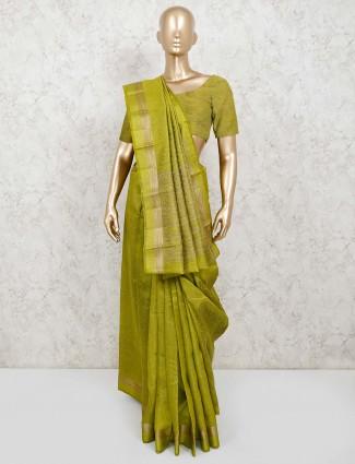 Olive cotton silk jacquard design saree