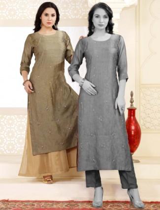 Olive cotton silk latest long kurti