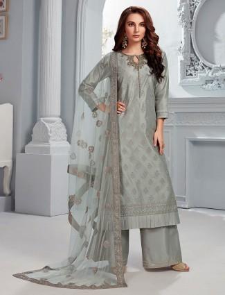 Olive cotton silk round neck punjabi palazzo suit