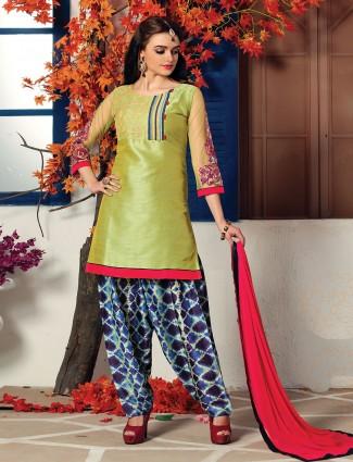 Olive cotton silk simple salwar suit