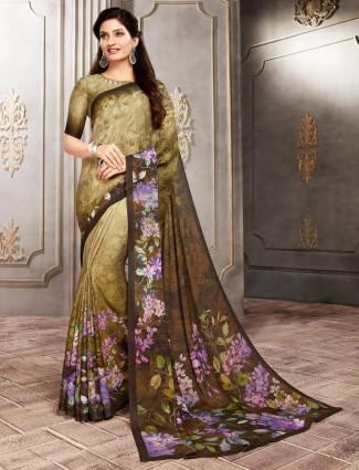 Olive crepe printed sari