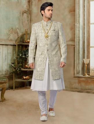 Olive exclusive silk jacket sherwani set for groom