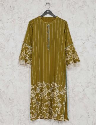 Olive festive wear chinese neck cotton kurti