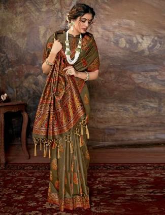Olive green banarasi silk saree for wedding